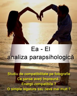 Studiu de compatibilitate pe fotografie El – Ea => analiza parapsihologica Ce sanse aveti impreuna Energii compatibile ? O simpla legatura sau ceva mai mult ?  Contact