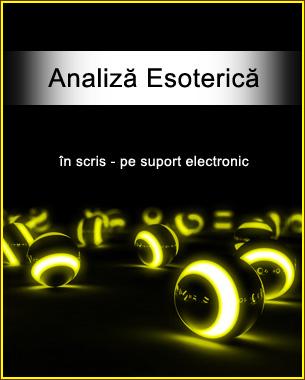 Analiza esoterica este metoda prin care o anumita problema este analizata cu mijloacele mai multor sisteme esoterice de divinatie si nu numai ca este analizata, dar aceasta metoda ofera si solutii pentru o problema sau alta, ori mai multe. Cercetarea se face in acest caz prin referire expresa la domeniul unde apare problema respectiva: profesie, dragoste, sanatate, finante si altele. Sunt utilizate elemente de astrologie, astrologie karmica, numerologie, tarot, ritualuri etc.  Citeste.